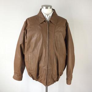 Sean John L brown Leather Bomber Coat Jacket